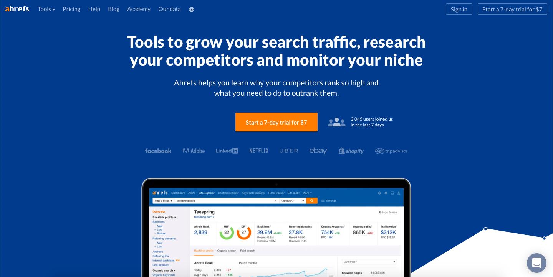 Ahrefs.com homepage